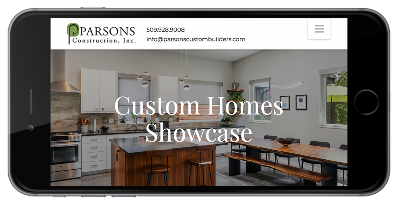 Parsons Construction Website on Mobile